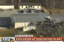 This frame grab from video provided by WSMV-TV in Nashville, Tenn., shows some of the area of an explosion and fire, Wednesday, April 16, 2014, at a property where several ammunition and explosives plants are based, in McEwen, Tenn. At least one person has died, and at least three people have been injured. (AP Photo/WSMV-TV)