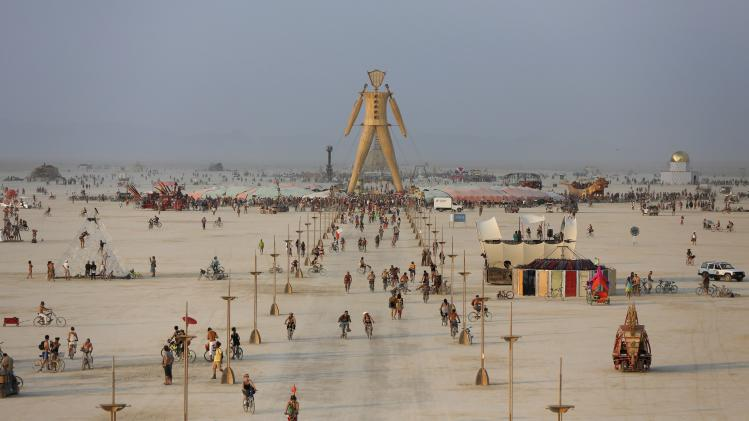 "A view of the Playa and the Man during the Burning Man 2014 ""Caravansary"" arts and music festival in the Black Rock Desert of Nevada"
