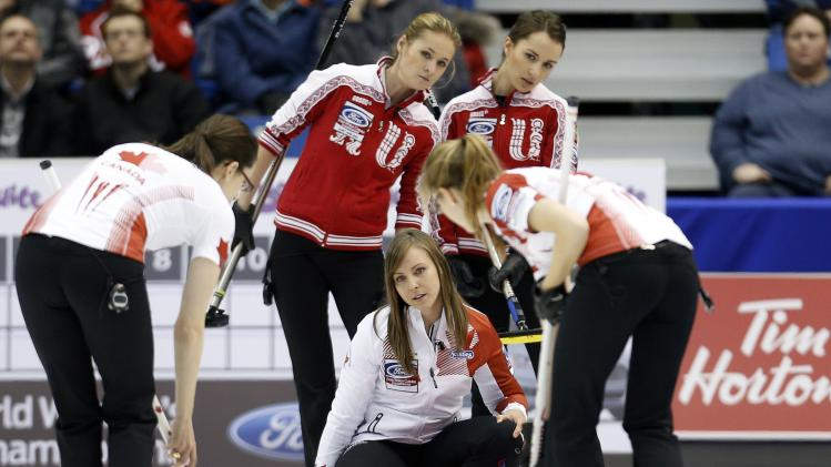 Canada skip Rachel Homan look at a shot during her draw against Russia at the World Women's Curling Championships in St.John