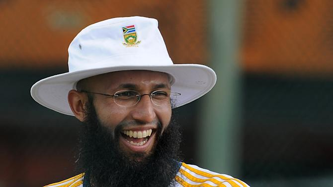 South African cricket team captain Hashim Amla gestures during a practice session at the Galle International Cricket Stadium in Galle on July 15, 2014