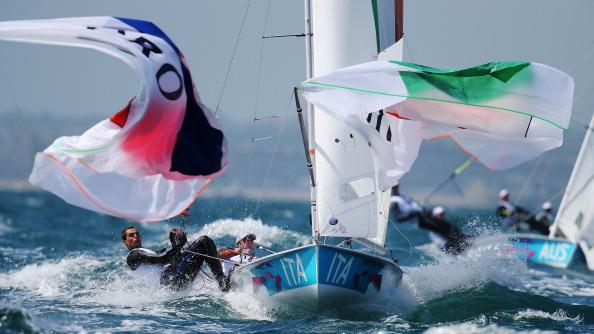 Gabrio Zandona (R) and Pietro Zucchetti (L) of Italy compete in the Men's 470 Sailing on Day 6 of the London 2012 Olympic Games at the Weymouth & Portland Venue at Weymouth Harbour on August 2, 2012 in Weymouth, England. (Photo by Clive Mason/Getty Images)