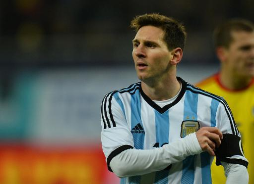 Lionel Messi of Argentina reacts during the International friendly football match Romania vs Argentina in Bucharest, Romania on March 5, 2014