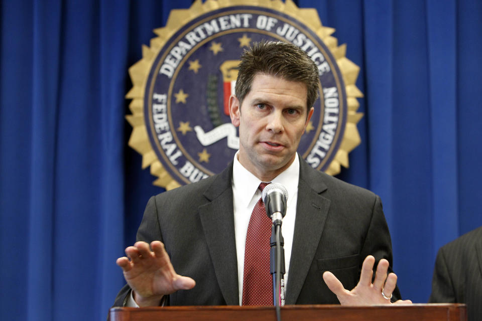 David Bowdich, special agent in charge of the FBI's L.A. area counterterrorism unit, discusses the arrests of four men suspected of promoting terrorist activities in counties east of Los Angeles, at a news conference at FBI headquarters in Los Angeles Tuesday, Nov. 20, 2012. (AP Photo/Reed Saxon)