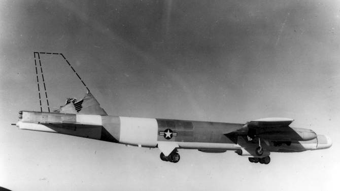 FILE - This photo made in 1964 and provided by the U.S. Air Force shows a B-52 bomber without a vertical stabilizer in flight during a test. A similar B-52 crashed into Elephant Mountain in Maine on Jan. 24, 1963.  That plane's 40-foot-tall vertical stabilizer had snapped off, and was found 1.5 miles from the main crash site. (AP Photo/U.S. Air Force, File)