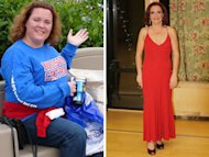 before and after pictures of a woman who lost weight