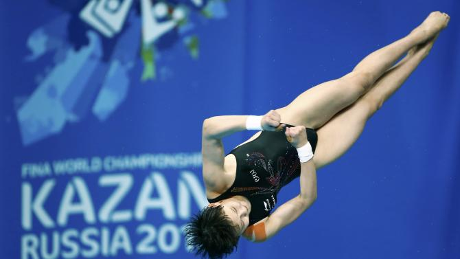 Ren of China during women's 10m platform semi-finals at the Aquatics World Championships in Kazan