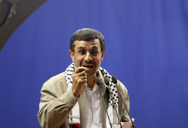 Iranian President Mahmoud Ahmadinejad speaks at the conclusion of an annual pro-Palestinian rally, marking Quds (Jerusalem) Day, on the last Friday of the holy month of Ramadan, at the Tehran University campus, in Tehran, Iran, Friday, Aug. 17, 2012. Iran&#39;s president says Israel&#39;s existence is an &quot;insult to all humanity.&quot; It&#39;s one of his sharpest attacks yet against the Jewish state. It comes as Israel openly debates whether to attack Iran over its nuclear program. Iran and Israel have been bitter enemies for decades. Israel considers Iran an existential threat because of its nuclear and missile programs and repeated references by Iranian leaders to Israel&#39;s destruction. (AP Photo/Vahid Salemi)