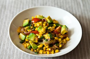 Charred Corn and Avocado Salad with Lime, Chili, and Tomato