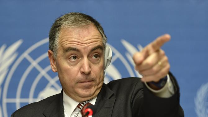 "Panos Moumtzis, the U.N. refugee agency's coordinator for the region, gestures during a press conference at the headquarters of the United Nations in Geneva, Switzerland, Friday, Nov. 9, 2012. Mountzis told reporters that 9,000 Syrians fled to Turkey, while 1,000 went into Jordan and 1,000 into Lebanon just in one day.  He said the estimated figures are ""really the highest we have had in quite some time"" compared with an average 2,000 to 3,000 Syrians fleeing daily. (AP Photo/Keystone, Martial Trezzini)"