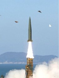 Undated image provided by South Korea's Defence Ministry shows the test-launch of its new ballistic missile. South Korea and the US are close to agreement on more than doubling the range of Seoul's ballistic missiles to better guard against threats from the North, a report said on Sunday