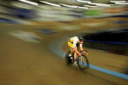 Track cycling sprinter Kevin Mansker of the U.S. trains for the London 2012 Olympics in Carson