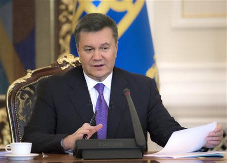 Ukraine's President Yanukovich takes part in a news conference in Kiev