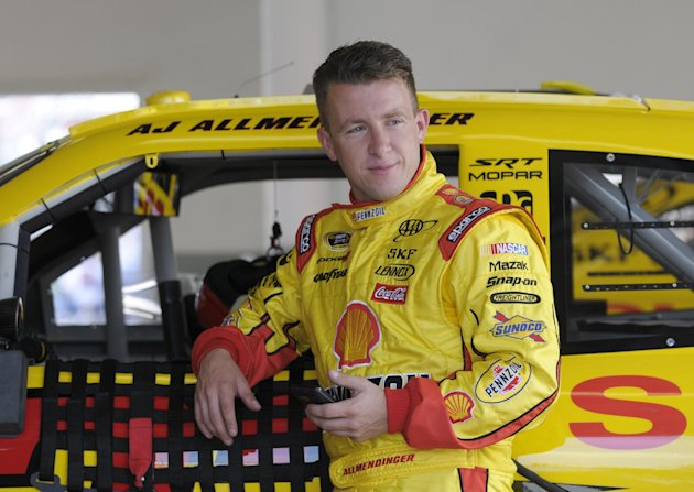 In this Feb. 18, 2012, photo, AJ Allmendinger leans against his car in the garage area during NASCAR Daytona 500 practice at Daytona International Speedway in Daytona Beach, Fla. NASCAR has temporarily suspended Allmendinger after he failed a drug test. Allmendinger won&#39;t be allowed to drive Saturday night, July 7, in the Sprint Cup race at Daytona. Instead, Sam Hornish Jr. will be behind the wheel of the No. 22 Dodge for Penske Racing. Allmendinger has 72 hours to request that his B sample be tested. (AP Photo/Phelan M. Ebenhack)
