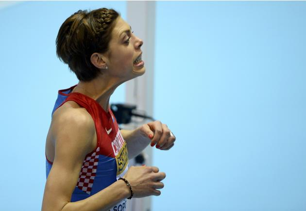 Croatia's Vlasic reacts during women's high jump qualification at world indoor athletics championships in Sopot