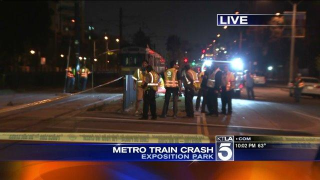 Car Collides with Expo Line Train Near USC, Injuring 21