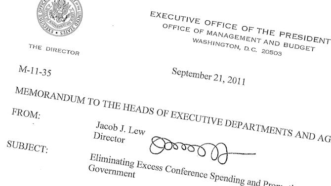 "This Sept. 21, 2011, memo posted on the White House website shows then-Office of Management and Budget director Jack Lew's signature. Lew may not have succeeded yet in getting a grand budget bargain with Congress, but at least his handwriting is improving. And it is expected to be even better when the time comes for him to affix his ""Jacob Lew"" to the nation's currency. President Barack Obama joked in January when he nominated Lew for the Treasury post that he had never noticed before how illegible Lew's signature was. Lew's scrawl as OMB director consisted of a series of loops that bore no resemblance to his name. (AP Photo/The White House)"