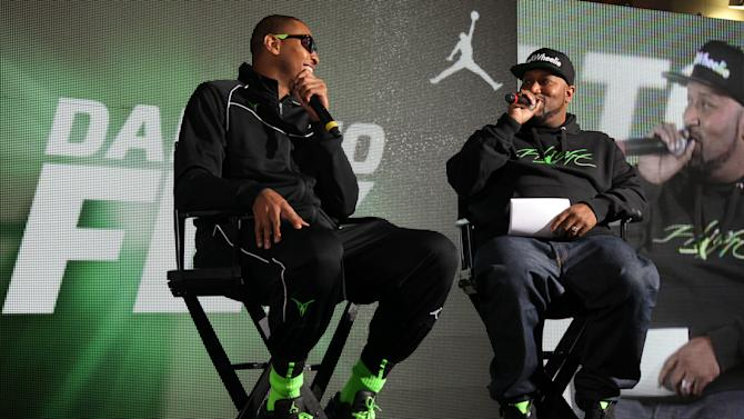 Jordan Brand athlete, Carmelo Anthony, answers questions from rapper Bun B at Jordan Brand's Flight Experience on Friday, February 15, 2013 in Houston, TX.  Anthony's Melo M9 shoes hit retail in January of this year.  (Photo by Omar Vega/Invision for Jordan Brand/AP Images)