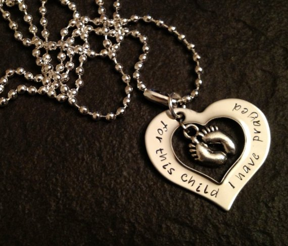 Hand Stamped Baby Feet Necklace