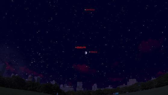 Saturn Forms Cosmic Triangle with Stars This Week