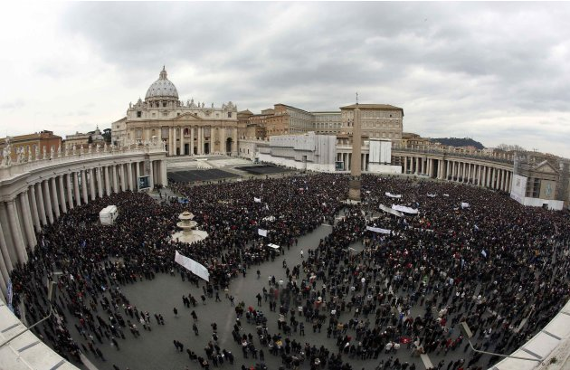 A general view of St. Peter's Square as newly elected Pope Francis appears at the window of his future private apartment to bless the faithful, during the Sunday Angelus prayer at the Vatican