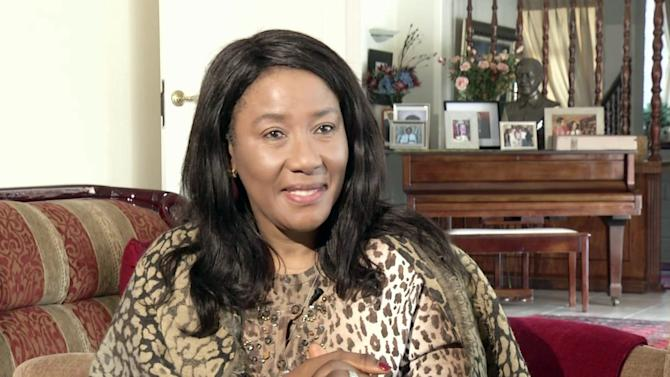 In this Friday, May 24, 2013 image made from AP Video, former South African President Nelson Mandela's daughter Makaziwe Mandela, speaks to the Associated Press, in Johannesburg, South Africa. Nelson Mandela, in the twilight of life, doesn't talk much anymore, his eldest daughter says. But the former South African president, who wrote of his regret at being unable to devote himself to his family during the fight against apartheid and afterward, reaches out in another way. (AP Photo/AP Video)
