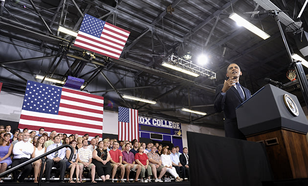 President Barack Obama speaks about the economy at Knox College in Galesburg, Ill. (AP Photo/Susan Walsh)