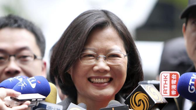 FILE - In this Jan. 14, 2012 file photo, Tsai Ing-wen, presidential candidate of Taiwanese opposition Democratic Progressive Party speaks to reporters in New Taipei City, Taiwan. Taiwan's opposition presidential candidate will look to reassure U.S. officials this week that victory in a January election for her party, which Beijing views with suspicion, won't revive tensions across the Taiwan Strait. (AP Photo/Chiang Ying-ying, File)