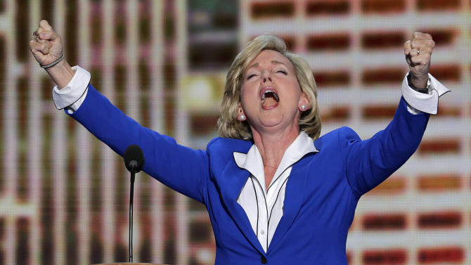 Former Michigan Gov. Jennifer Granholm addresses the Democratic National Convention in Charlotte, N.C., on Thursday, Sept. 6, 2012. (AP Photo/J. Scott Applewhite)