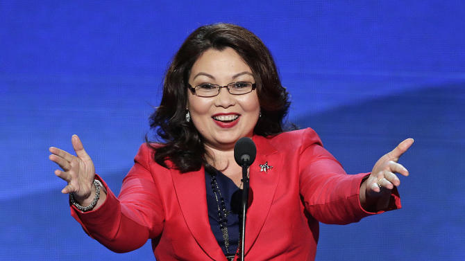 FILE - In this Sept. 4, 2012 file photo, Tammy Duckworth, former assistant secretary of the U.S. Department of Veterans Affairs and a candidate for Illinois' 8th Congressional District seat, addresses the Democratic National Convention in Charlotte, N.C. Duckworth faces Republican U.S. Rep. Joe Walsh in the Nov. 6, 2012 general election.  (AP Photo/J. Scott Applewhite, File)