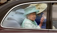 Britain's Queen Elizabeth II leaves Buckingham Palace, London, for a service of thanksgiving at St Paul's Cathedral as the Diamond Jubilee celebrations continue. Tuesday June 5, 2012. (AP Photo/ Lewis Whyld/PA) UNITED KINGDOM OUT