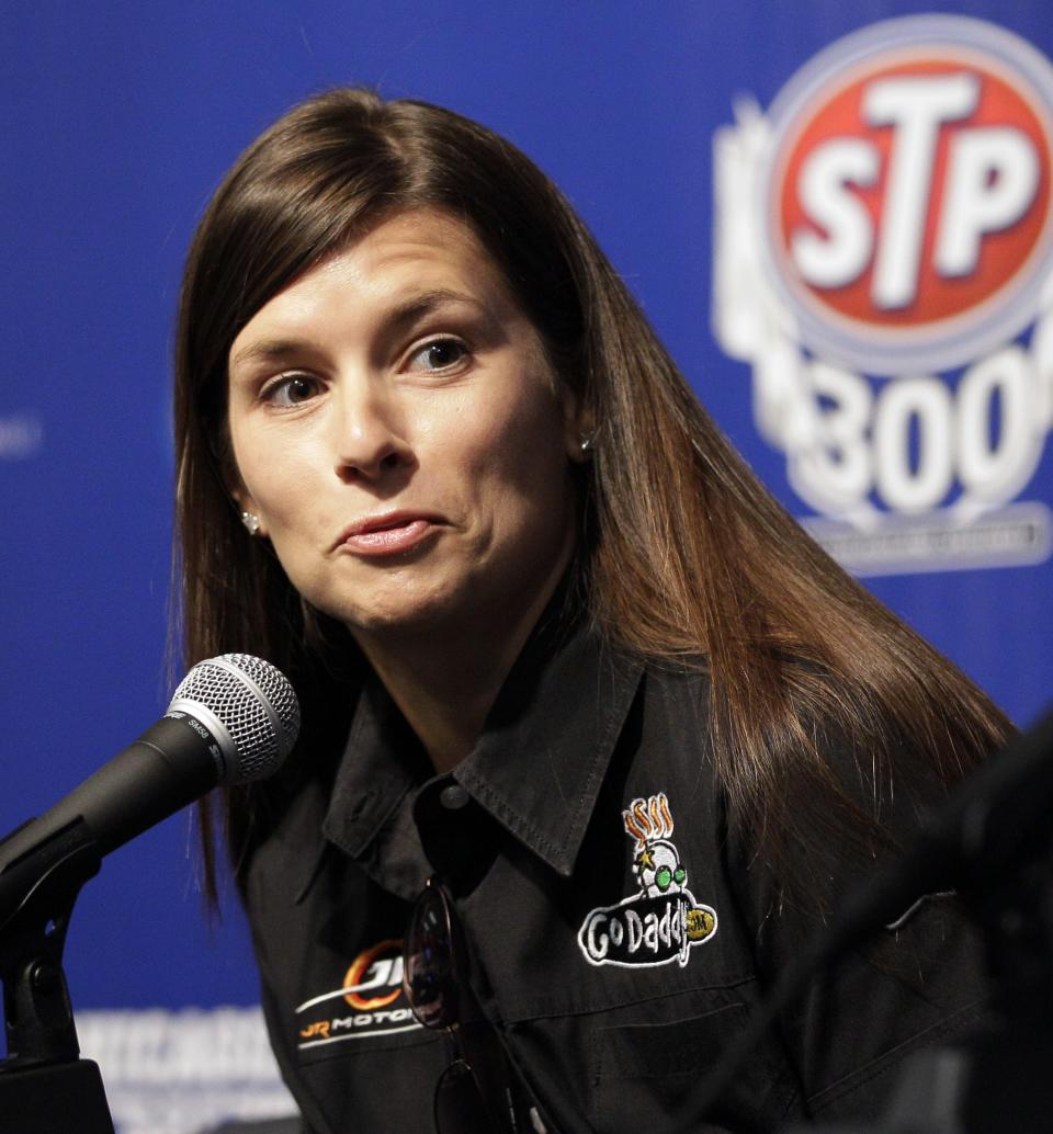 Danica Patrick speaks at a news conference at Chicagoland Speedway in Joliet, Ill., Saturday, July 21, 2012. Patrick will attend Sunday's NASCAR  Nationwide Series auto race. (AP Photo/Nam Y. Huh)