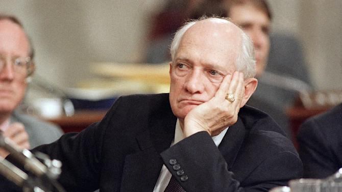 FILE - In this July 30, 1987, file photo, Rep. Jack Brooks, D-Texas rest his head on hand during the Iran-Contra hearings on Capitol Hill in Washington. Brooks, a Democrat who spent 42 years representing his Southeast Texas district, has died at age 89. (AP Photo/Lana Harris, File)