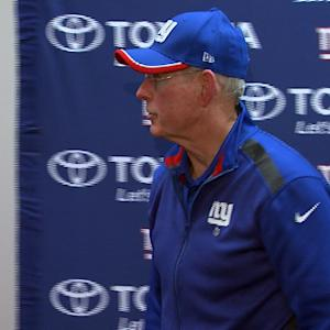New York Giants coach Tom Coughlin gets upset over Beckham celebration questions