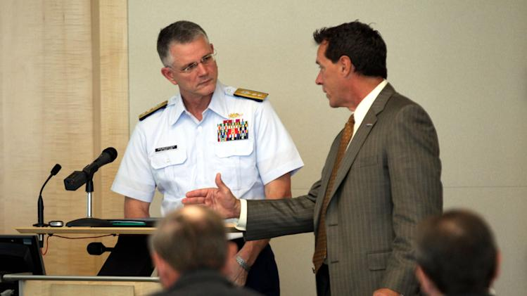 COMMERCIAL IMAGE - In this photograph taken by AP Images for Pew Charitable Trusts, Rear Admiral William D. Baumgartner, left, with Jeff Pike the Director of The American Sovereignty Campaign speak at the Miami Forum on Law of the Sea at the The Beacon Council on Thursday, June 14, 2012 in Miami. Admiral Baumgartner addressed business leaders in Miami on the National Security benefits of  Law of the Sea. (Marc Serota/AP Images for Pew Charitable Trusts)