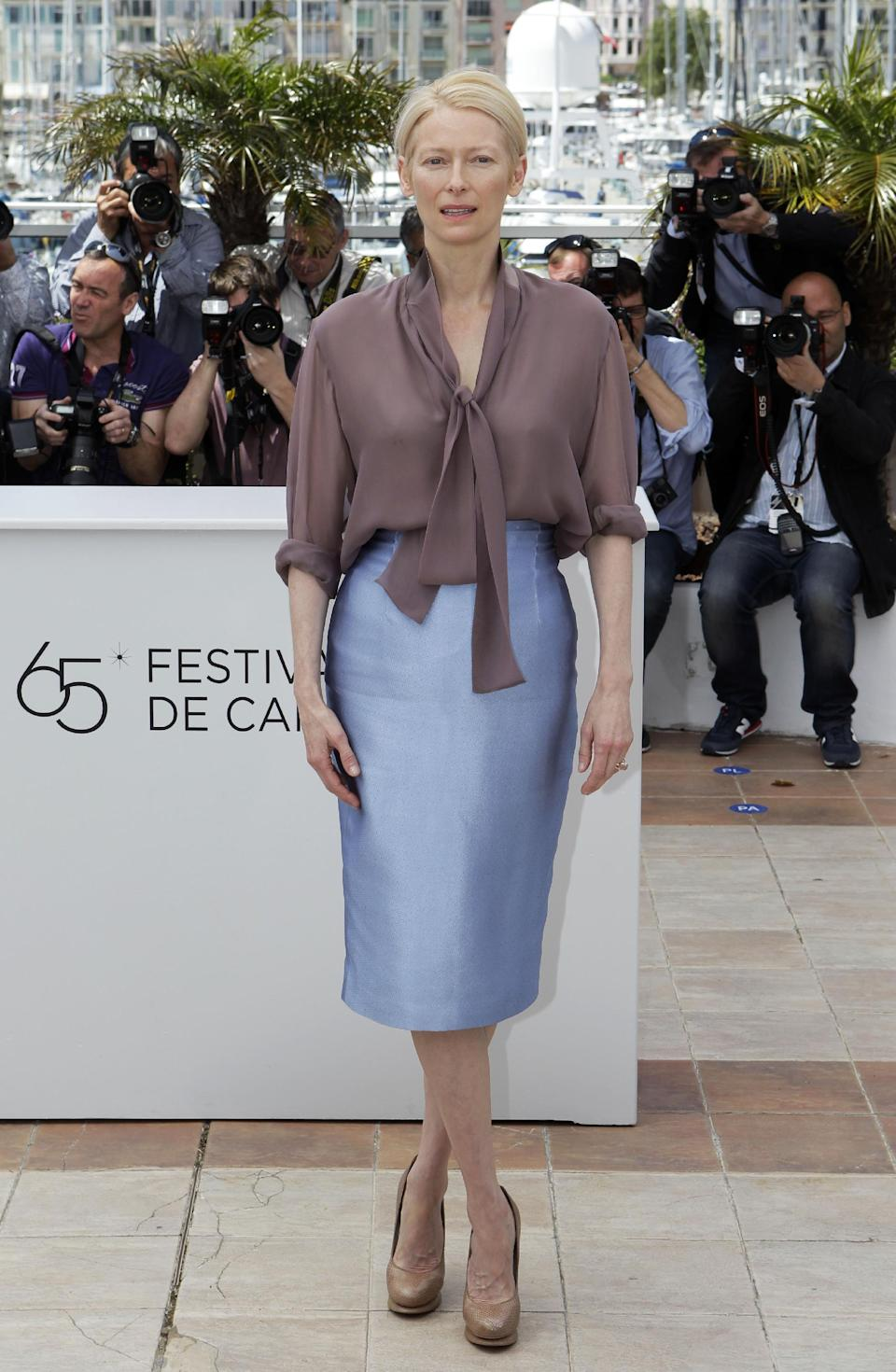 Actress Tilda Swinton poses during a photo call for Moonrise Kingdom at the 65th international film festival, in Cannes, southern France, Wednesday, May 16, 2012. (AP Photo/Lionel Cironneau)