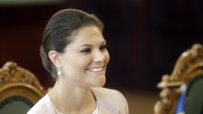 Sweden's Crown Princess Victoria attends meeting with Latvia's President Berzins in Riga