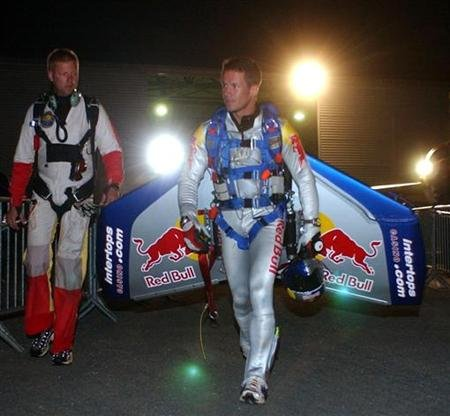 File photo of Austrian skydiver Felix Baumgartner is seen before the start of his freefall attempt across the English Channel between Dover and Calais, July 31, 2003. REUTERS/Denis Balibouse/Red Bull HIGH RESOLUTION FILE/Files