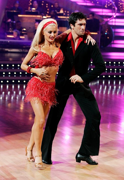 Holly Madison and Dmitry Chaplin perform the Samba to &quot;Bananza (Belly Dancer)&quot; by Akon on &quot;Dancing with the Stars.&quot; 