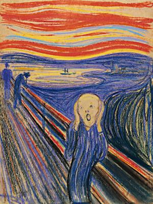 "In this undated photo provided by Sotheby's Auction House in New York, ""The Scream,"" by Norwegian painter Edvard Munch is shown. The 1895 pastel on board, arguably one of the art world's most recognizable images, will go on view at the Museum of Modern Art in New York beginning Oct. 24, 2012. (AP Photo/Sotheby's Auction House)"