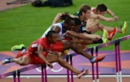 From left, the US' Aries Merritt, Cuba's Dayron Robles and the US' Jason Richardson compete in the men's 110m hurdles final at the London Olympics on Wednesday. Merritt took gold