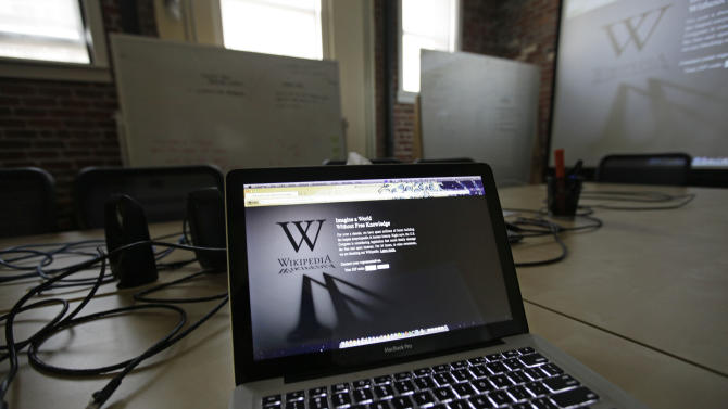 """A blackout landing page is displayed on a laptop computer screen inside the """"Anti-Sopa War Room"""" at the offices of the Wikipedia Foundation in San Francisco, Wednesday, Jan. 18, 2012. January 18 is a date that will live in ignorance, as Wikipedia started a 24-hour blackout of its English-language articles, joining other sites in a protest of pending U.S. legislation aimed at shutting down sites that share pirated movies and other content. The Internet companies are concerned that the Stop Online Piracy Act in the House and the Protect Intellectual Property Act under consideration in the Senate, if passed, could be used to target legitimate sites where users share content. (AP Photo/Eric Risberg)"""
