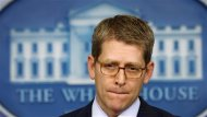 "White House press secretary Jay Carney speaks to reporters about the so-called ""sequester"" at the White House in Washington February 28, 2013. REUTERS/Kevin Lamarque"