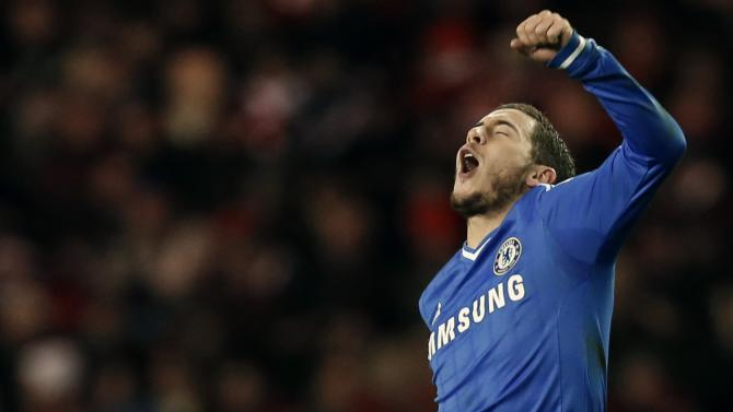 Chelsea's Hazard celebrates his goal against Sunderland during their English Premier League match in Sunderland