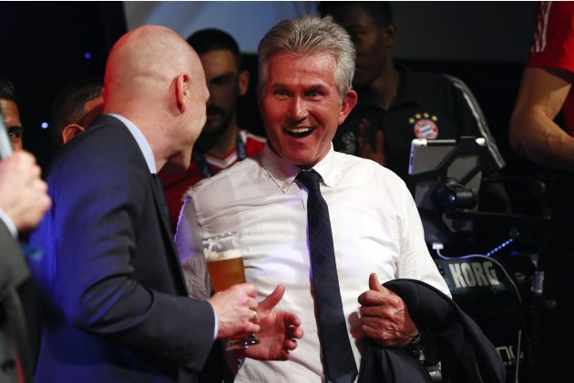 Bayern Munich coach Jupp Heynckes and team manager Sammer attend the team's banquet in London