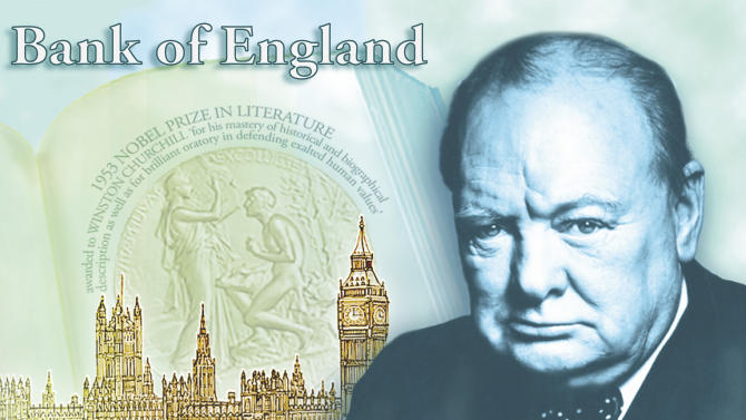 """FILE -This a a computer generated file image provided by the Bank of England Friday April 26, 2013, showing the concept design for the reverse of the new 5-pound note, with a picture of former British Prime Minister Winston Churchill. The Bank of England's chief has hinted that Jane Austen could become the new face of Britain's 10-pound note. The bank's outgoing governor, Mervyn King, told lawmakers Tuesday, June 25, 2013, that the """"Pride and Prejudice"""" novelist is the leading candidate to replace Charles Darwin on the banknote. King's comments came after the bank earlier announced it will replace social reformer Elizabeth Fry with Winston Churchill on the 5-pound note, a move that prompted outcries that no woman except Queen Elizabeth II would be represented on Bank of England bills.(AP Photo/Bank of England, File)"""