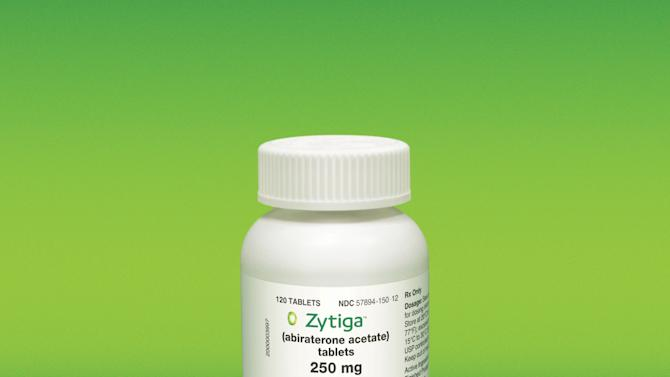 This undated image provided by Johnson & Johnson shows the drug Zytiga. The hormone-blocking pill approved in 2012 for certain men with advanced prostate cancer now also seems to help a wider group of men who were given it sooner in the course of treating their disease. In a study of nearly 1,100 such men, Zytiga doubled the time patients lived without their cancer getting worse. Study leader Dr. Charles Ryan of the University of California, San Francisco gave the results Saturday, May 2, 2012 at a meeting in Chicago of the American Society of Clinical Oncology. (AP Photo/Johnson & Johnson)