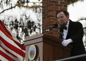 James Getty portrays US President Abraham Lincoln delivering the Gettysburg Address in Pennsylvania