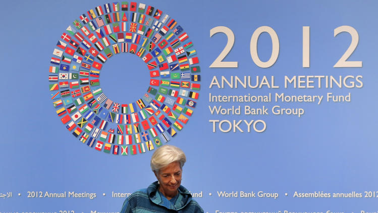 International Monetary Fund (IMF) chief Christine Lagarde arrives for a news conference at the IMF and World Bank's annual general assembly in Tokyo, Thursday, Oct. 11, 2012. (AP Photo/Itsuo Inouye)
