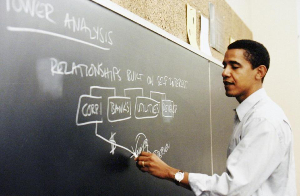 This undated file photo released by Obama for America shows Barack Obama teaching at the University of Chicago Law School in Chicago. Monday June 16, ...