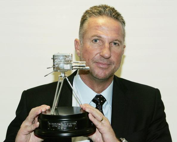 LONDON, ENGLAND - DECEMBER 12:  Former England cricketer Ian Botham poses with the Lifetime Achievement Award during the BBC  Sports Personallity of the Year Award on December 12, 2004 in London, Engl